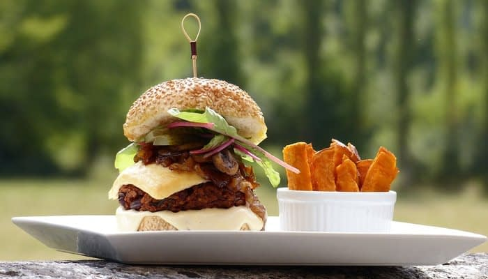 Vegetable burger in white sesame bun with sweet potato fries on a white plate on a log outside