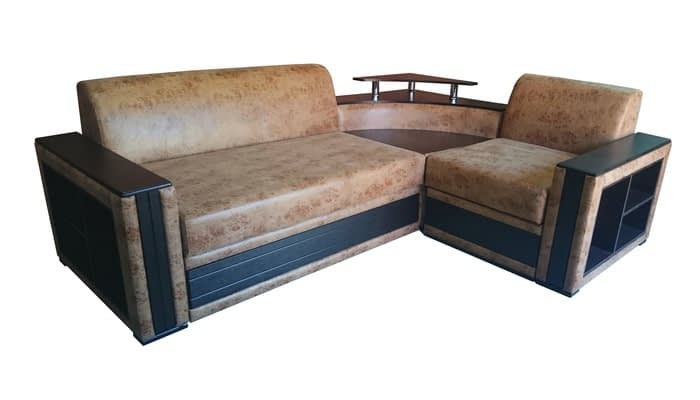 Brown leather corner sofa with built-in table and storage