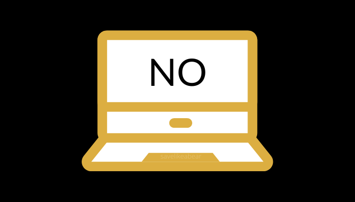 Gold and white graphic of computer with NO on screen