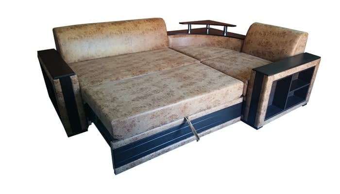 Brown leather corner sofa with foldaway guest bed and built-in table