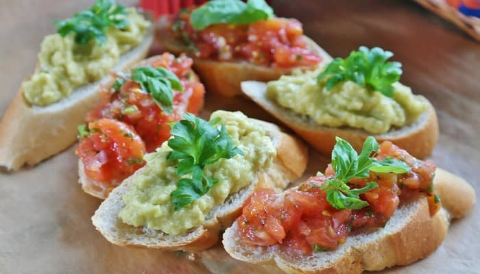 Tomato bruschetta and bean tapenade bruschetta
