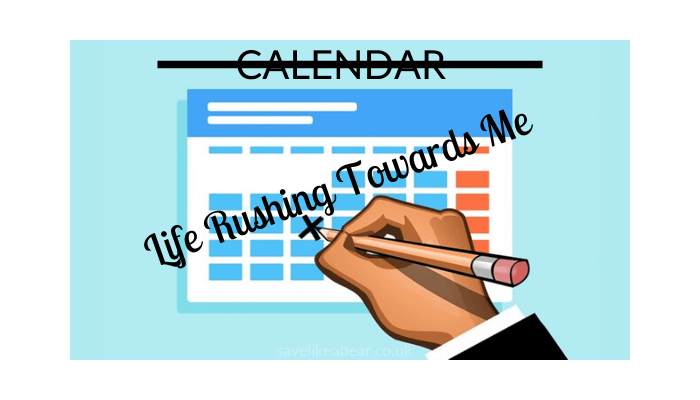 Calendar with title calendar crossed out and text life rushing towards me superimposed