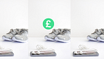 Grey trainers on white surface behind phone and earphones and green pound sign symbol