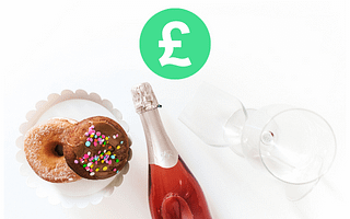 Tom Kerridge's Lose Weight For Good champagne bottle doughnuts and empty wine glasses