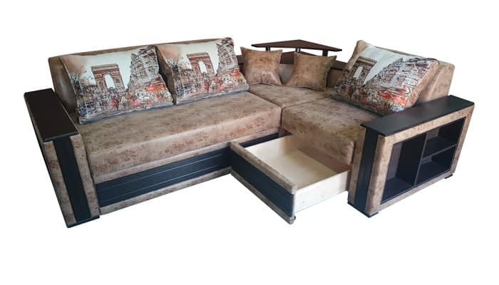 Brown leather corner sofa with built-in drawer