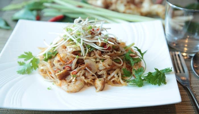 Prawn Pad thai with peanuts, chilli, beansprouts and coriander