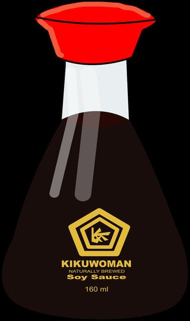 Drawing of soy sauce bottle labelled Kikuwoman
