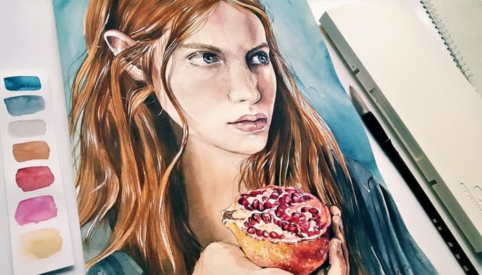 Painting of young woman with red hair holding a pomegranate