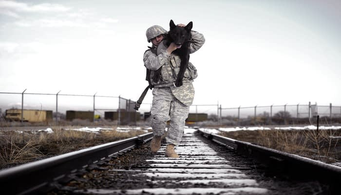Soldier carrying a black dog over his shoulder along train tracks
