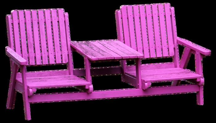 Purple garden bench table and chairs
